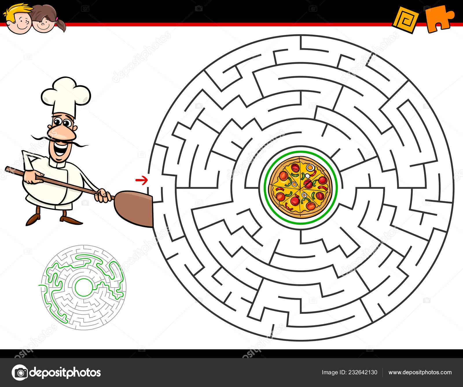 Cartoon Illustration Education Maze Labyrinth Activity
