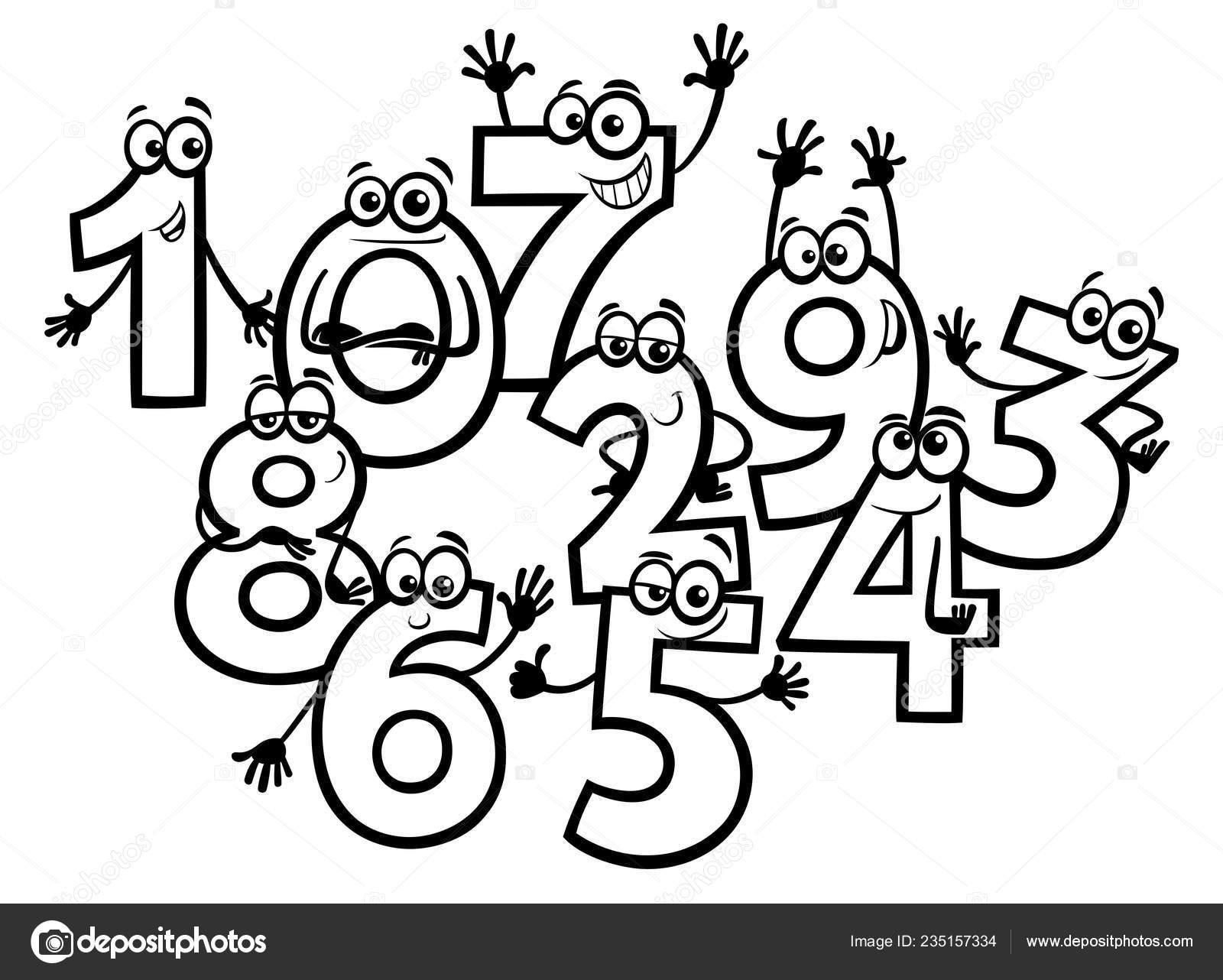 Illustrazione Numeri Animati Da Colorare Illustrazioni