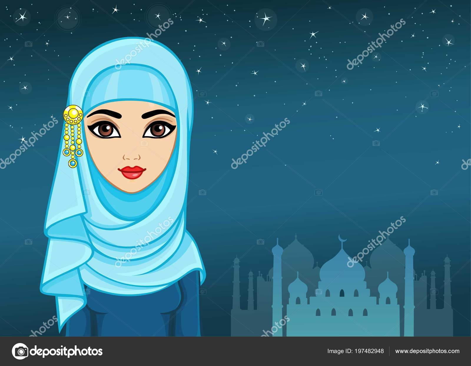 Ready in ai, svg, eps or psd. Arab Night Animation Portrait Beautiful Girl Hijab Background Night Star Stock Vector Image By C Roomyana 197482948
