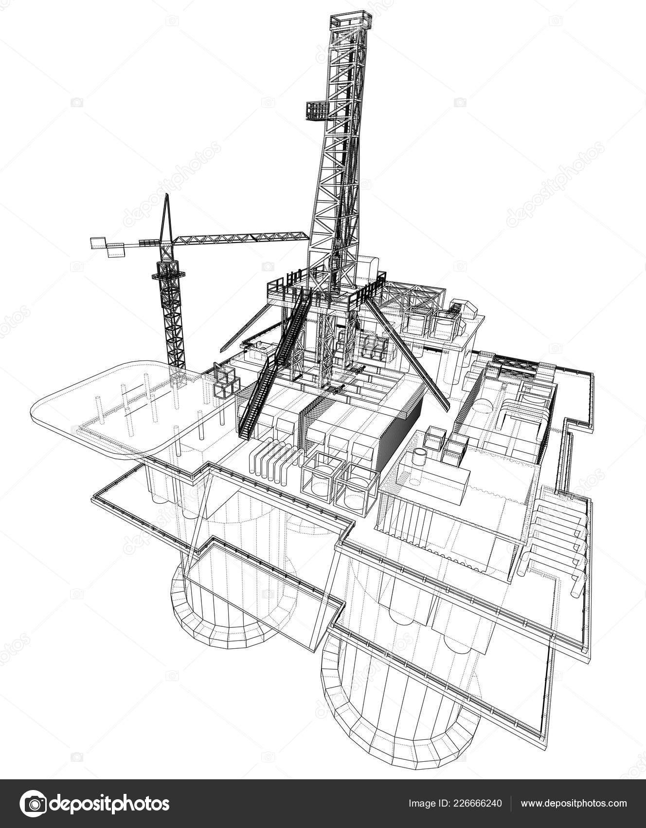 Offshore Oil Rig Drilling Platform Concept Vector