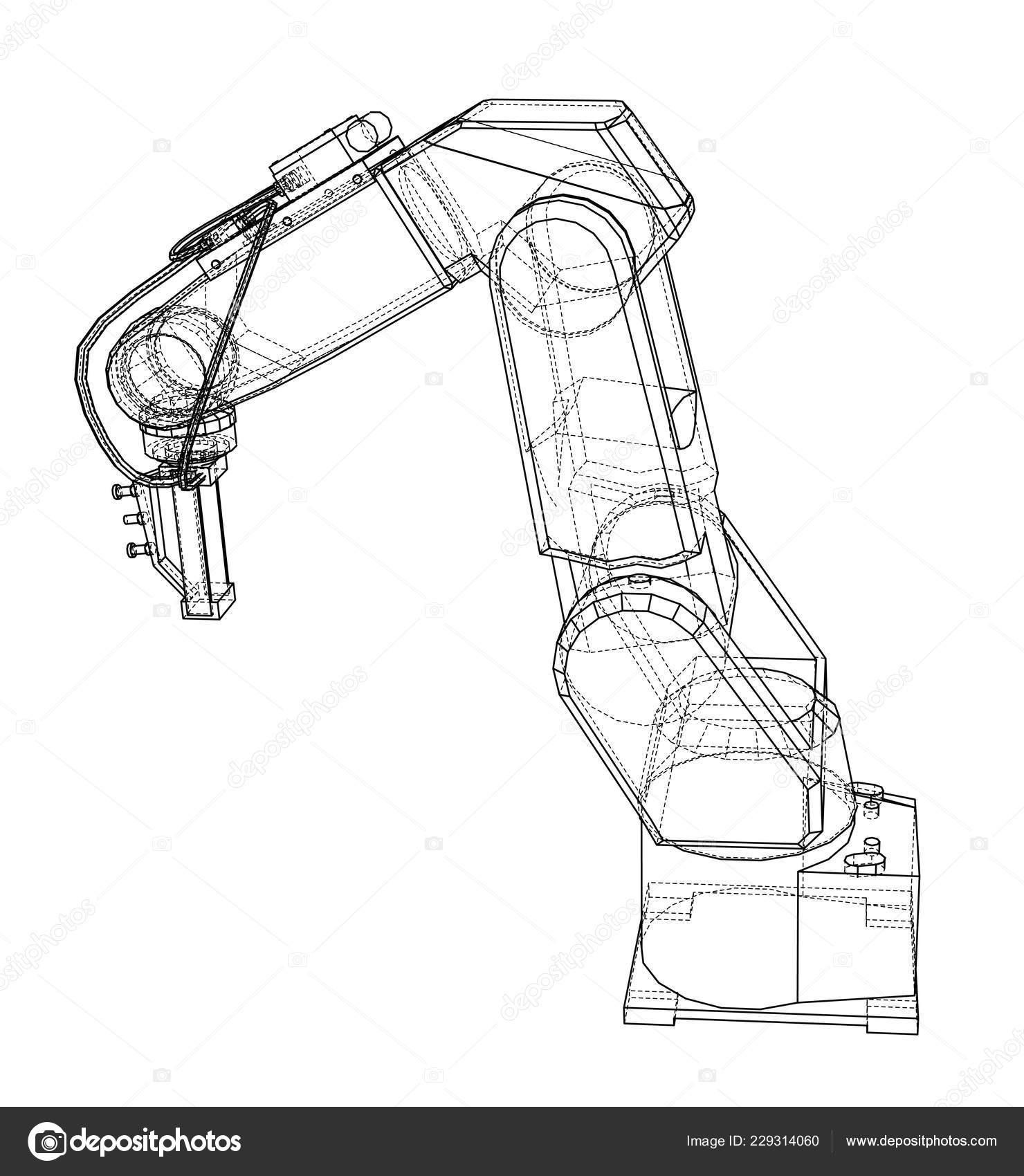 3d Outline Robotic Arm 3d Illustration