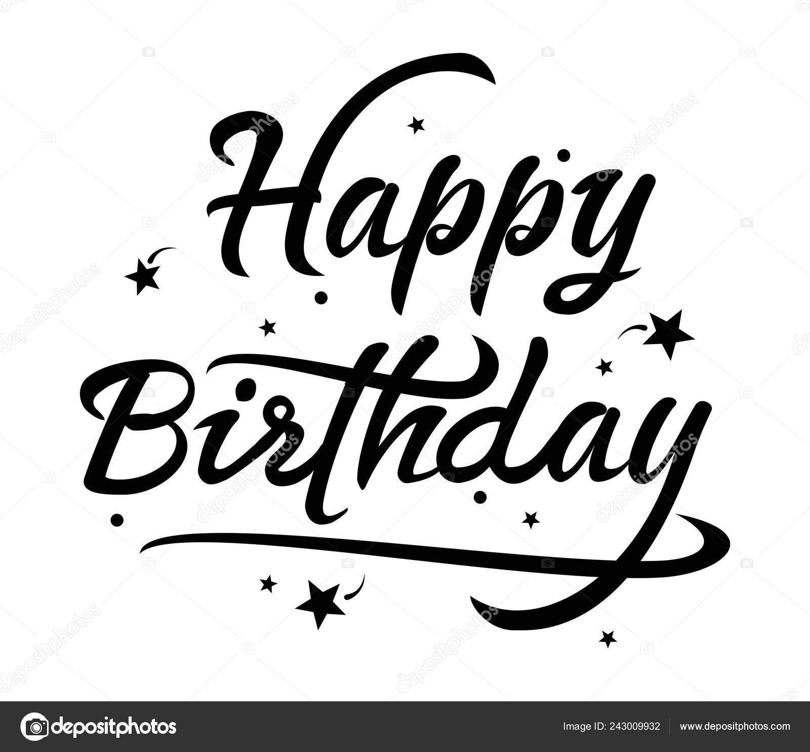 Vllustration Black And White Happy Birthday Card