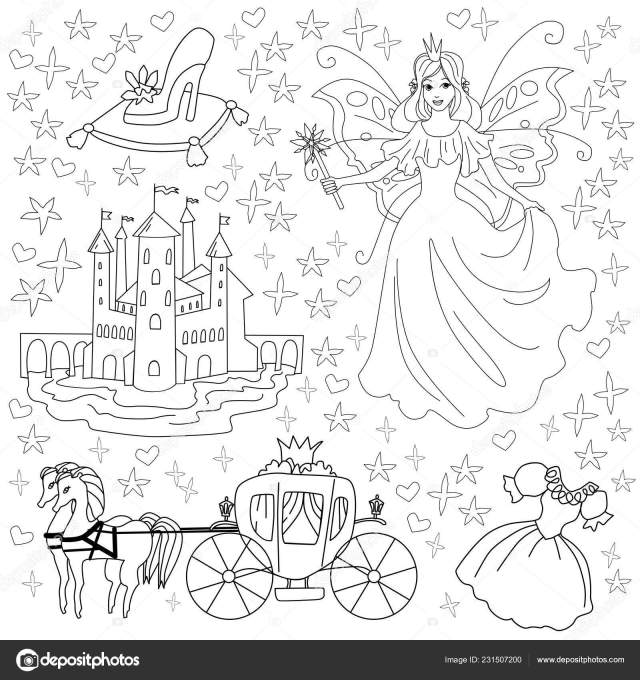 Fairy tale coloring page for kids. Vector illustration of princess