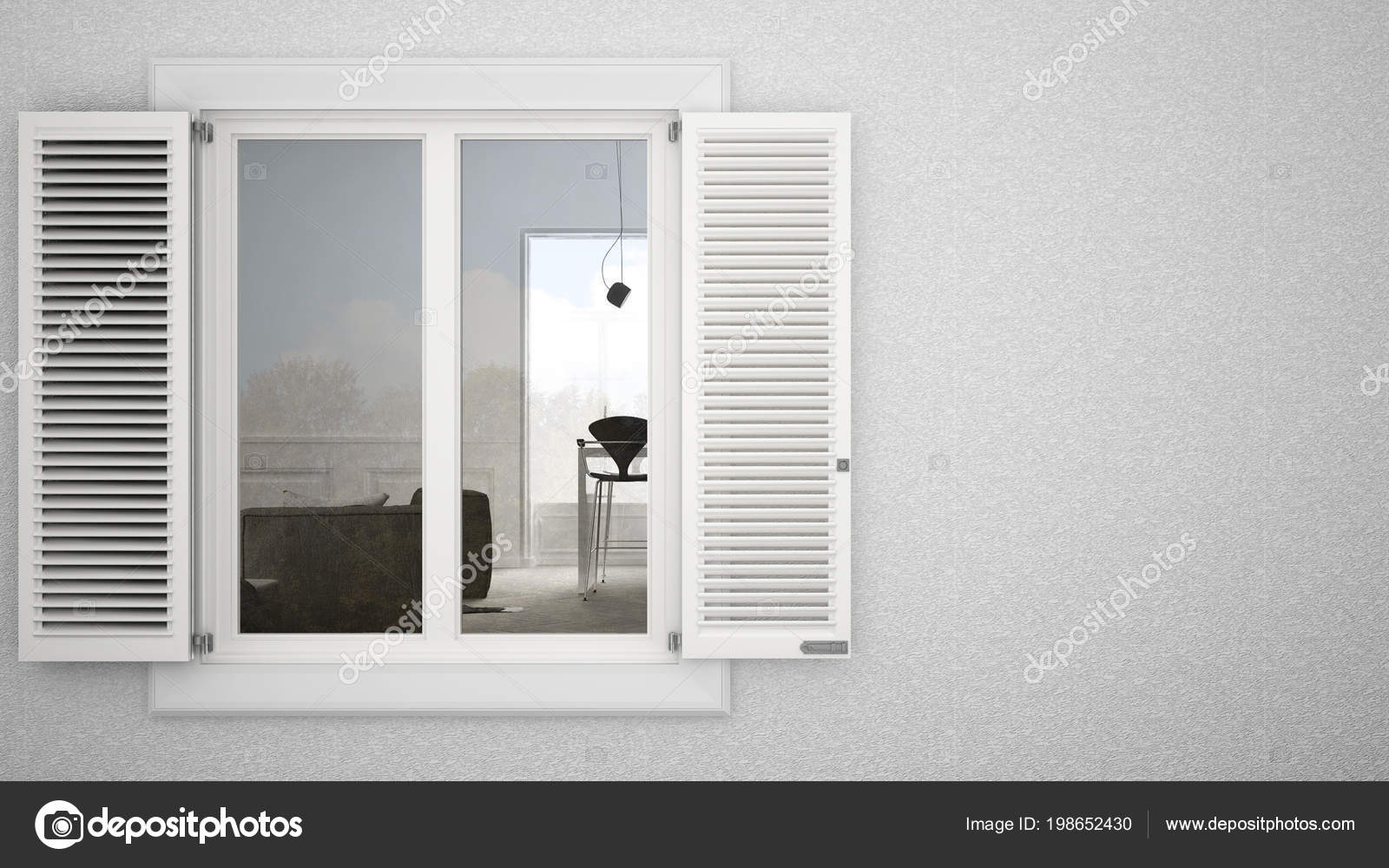 Exterior Plaster Wall White Window Shutters Showing Interior