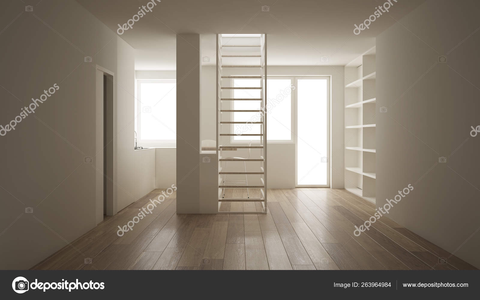 Minimalist Living Room With Kitchen And White Modern Staircase | Modern Staircase Window Design | Architecture | Small House Stair | Section Window | Elegant | Wooden