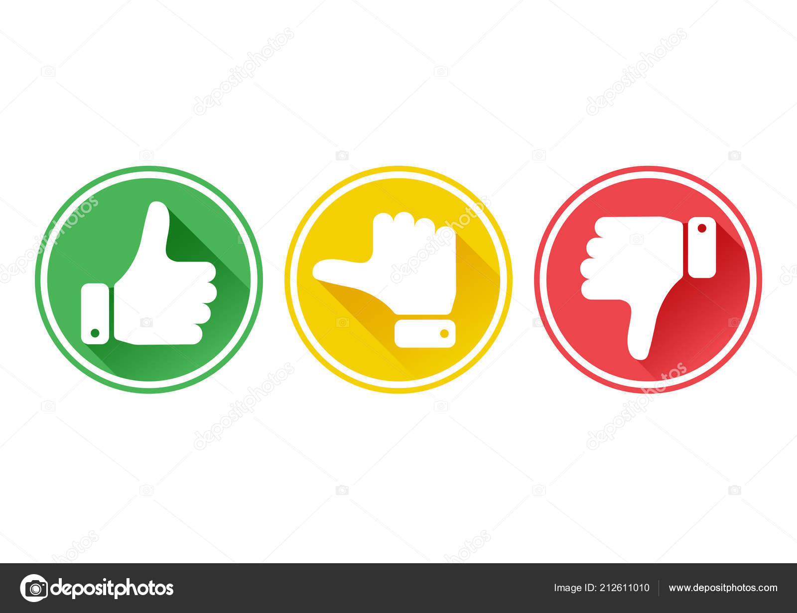 Hand Thumb Green Yellow Red Buttons Vector Illustration
