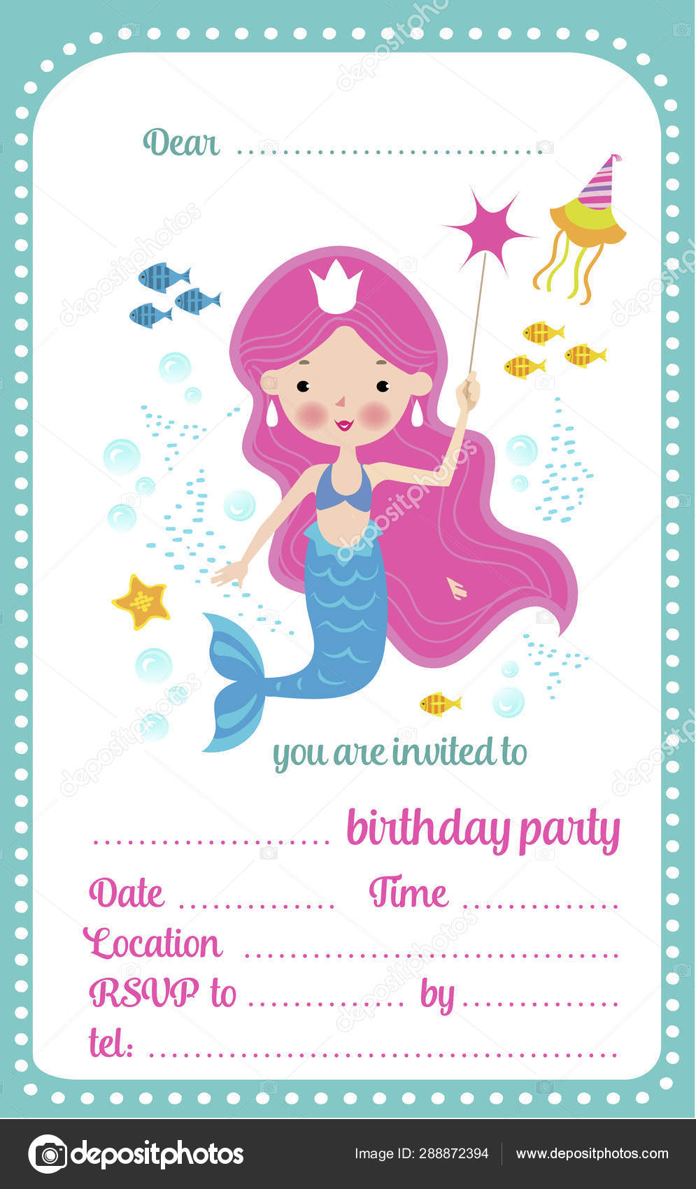 kids birthday party invitation template card with cute little mermaid and a place for text vector illustration vector image by c nataliashein vector stock 288872394