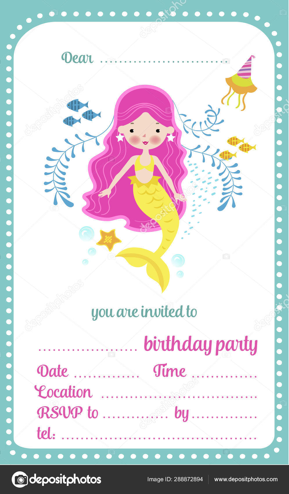 kids birthday party invitation template card with cute little mermaid and a place for text vector illustration vector image by c nataliashein vector stock 288872894