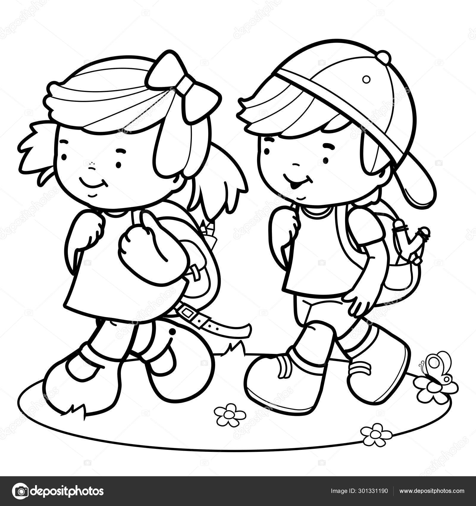 Children Walk To School Black And White Coloring Page