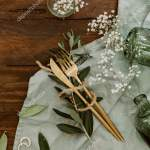 Rustic Wedding Table Decorations Wooden Table Top View Bohemian Wedding Stock Photo C Victoriabee 227134458