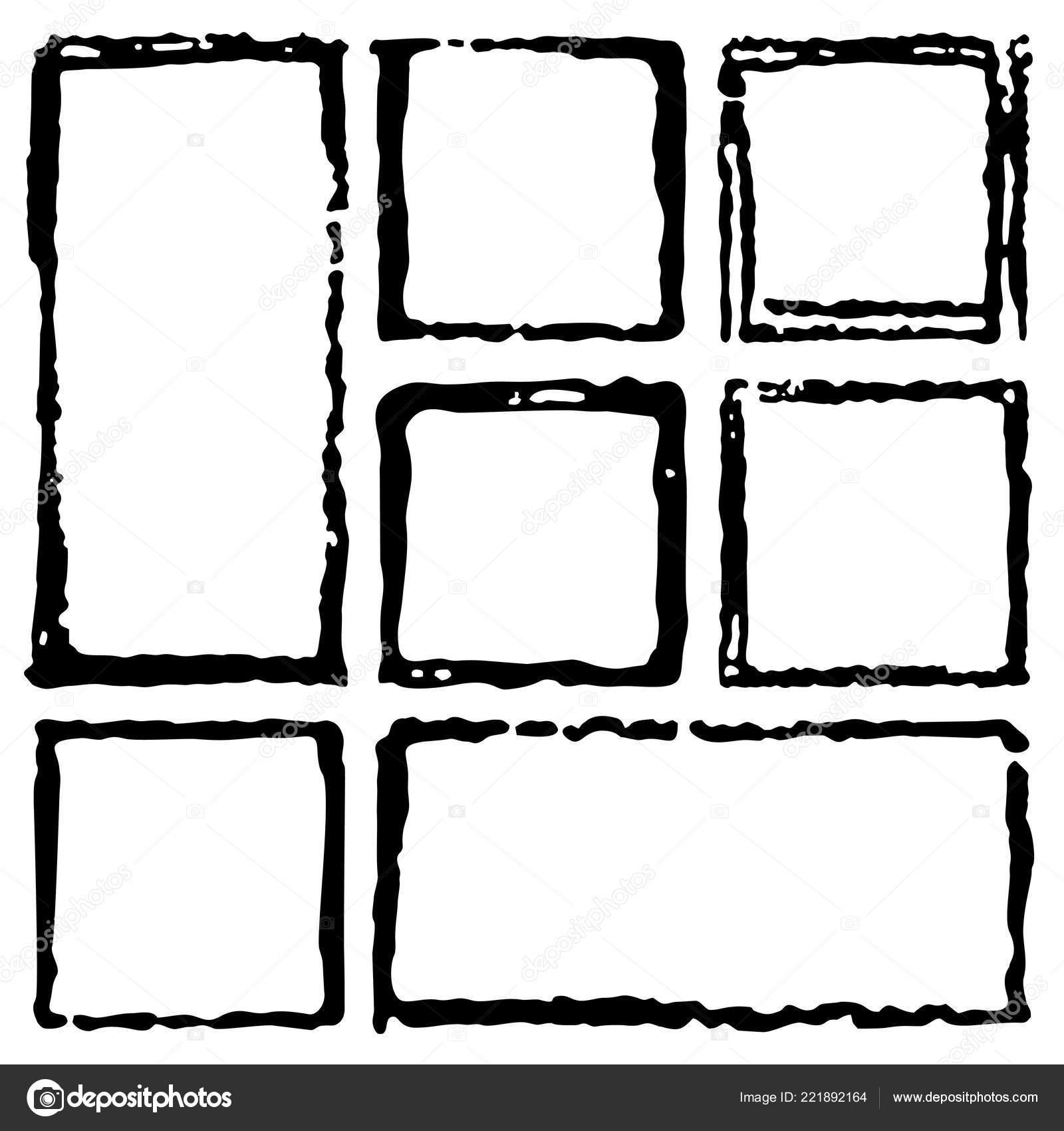 Collection Rectangular Ink Grunge Frames Borders Set