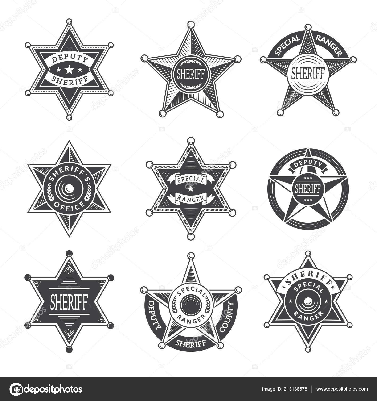 Xerife Estrelas Emblemas Oeste Do Texas E Rangers Escudos