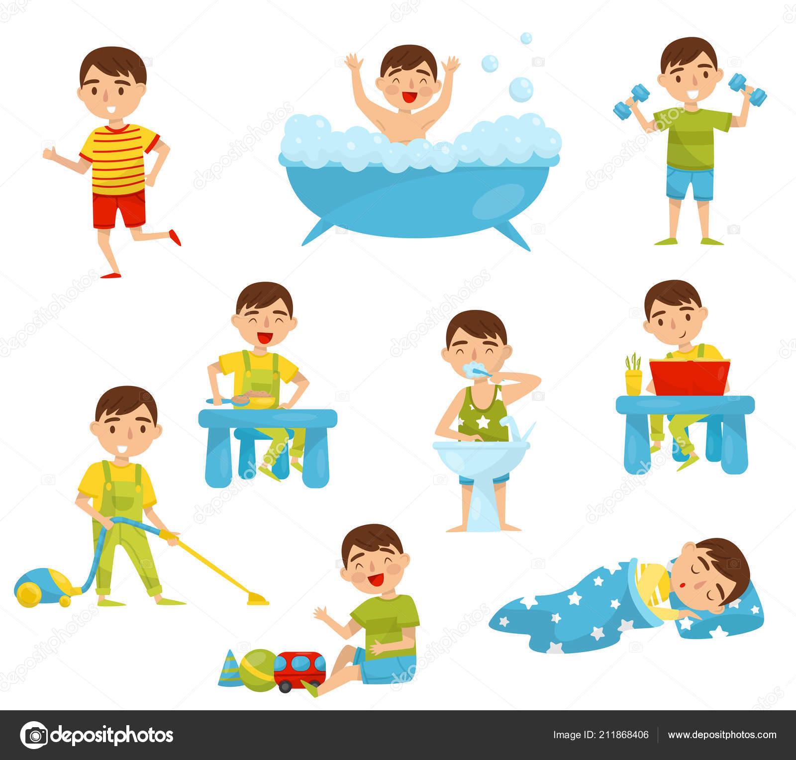 Dagelijkse Routine Van Schattige Jongen Instellen