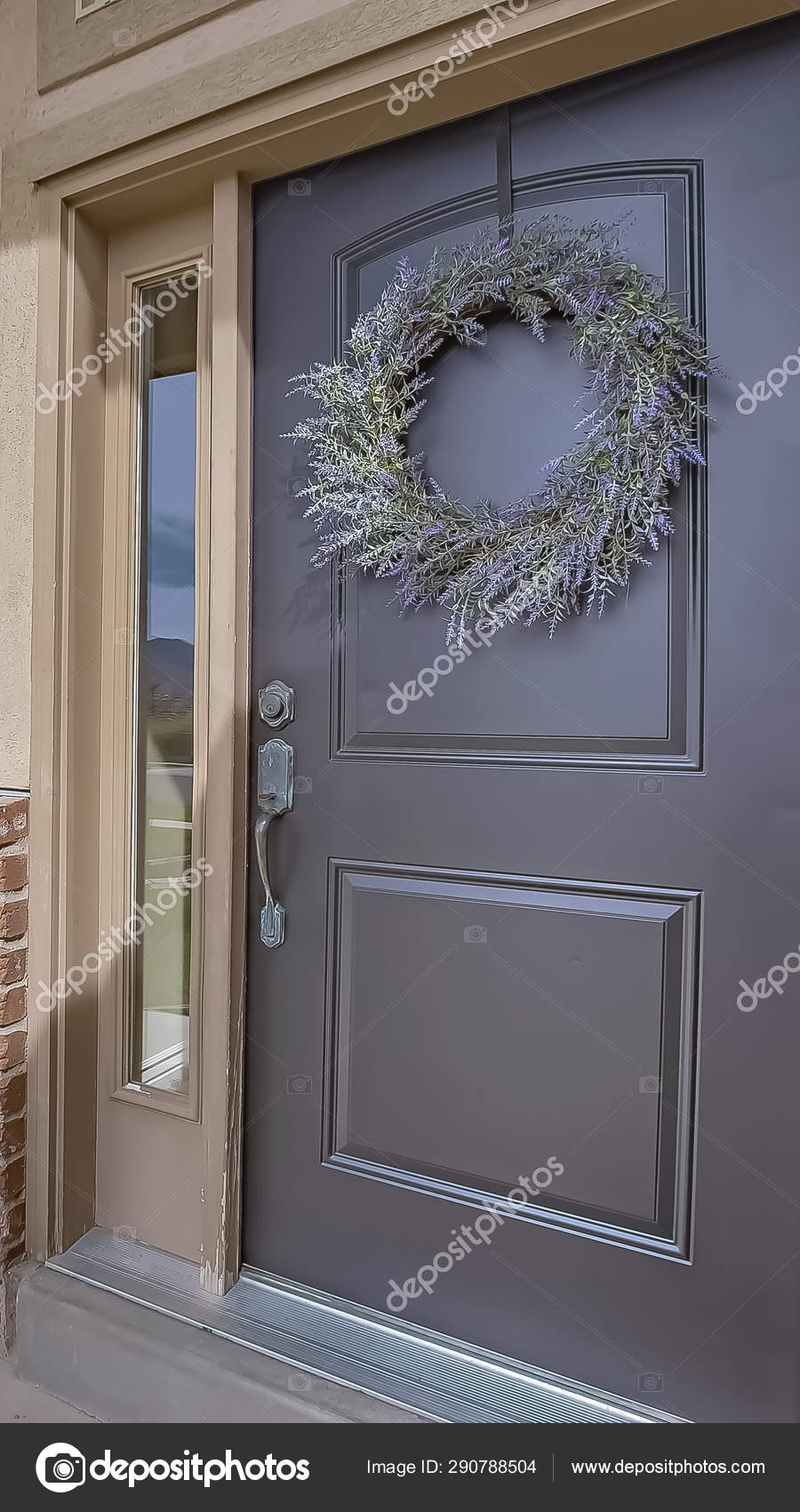 Vertical Porch And Front Door With Wreath And Sidelights