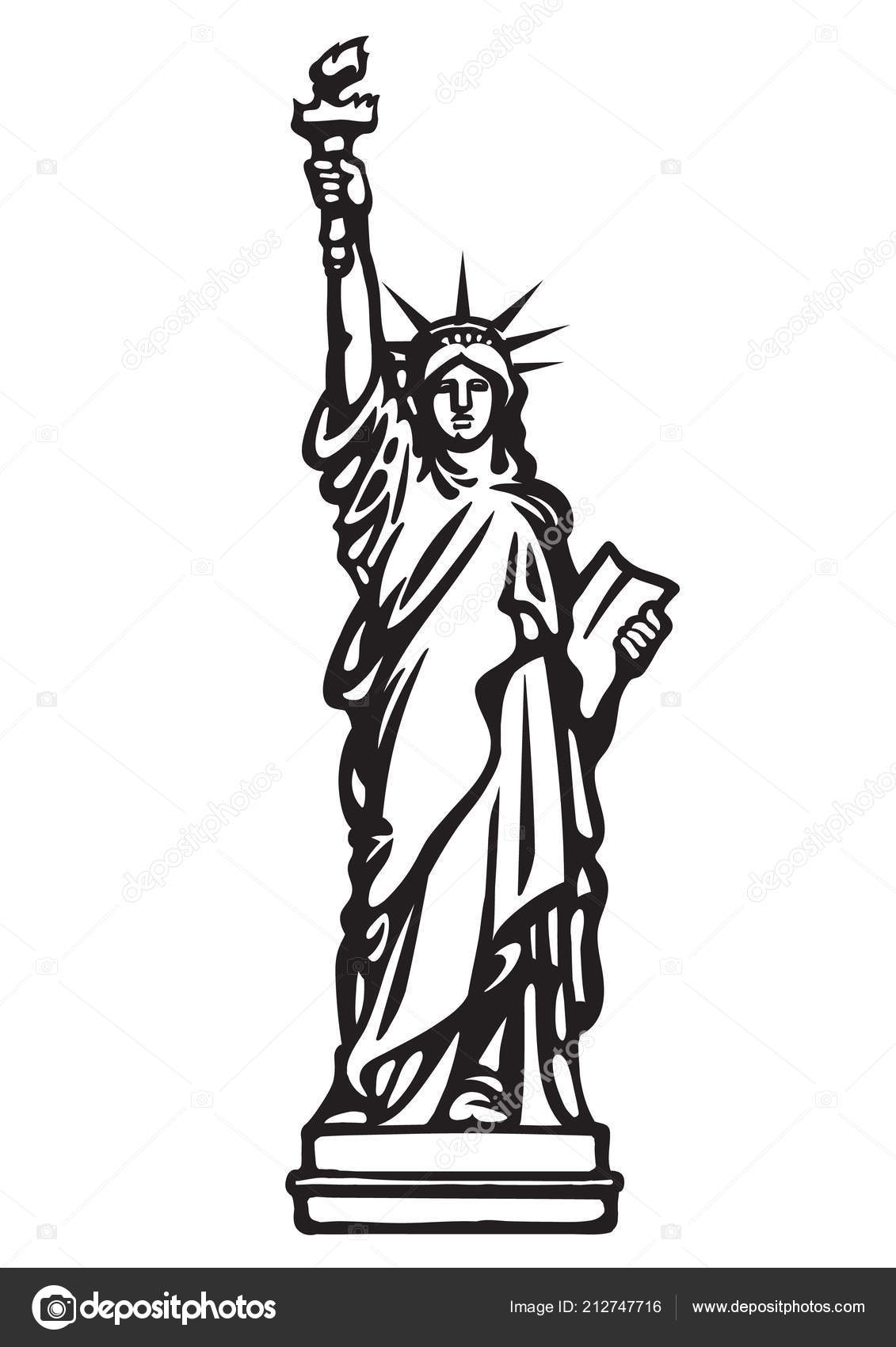 The Statue Of Liberty New York City Black And White Skethc