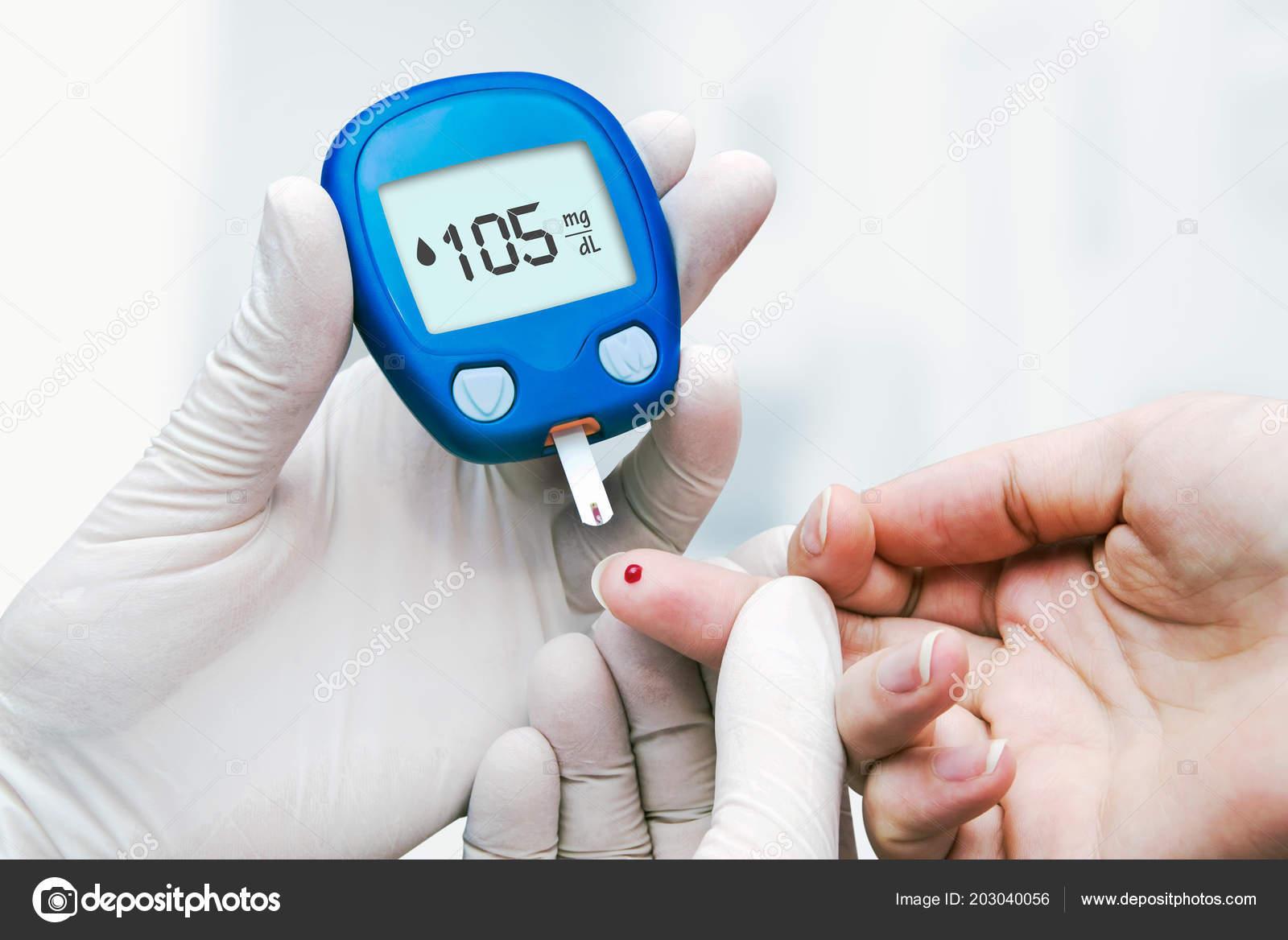 Doctor Making Blood Sugar Test Clinic Diabetes Drop Blood Finger