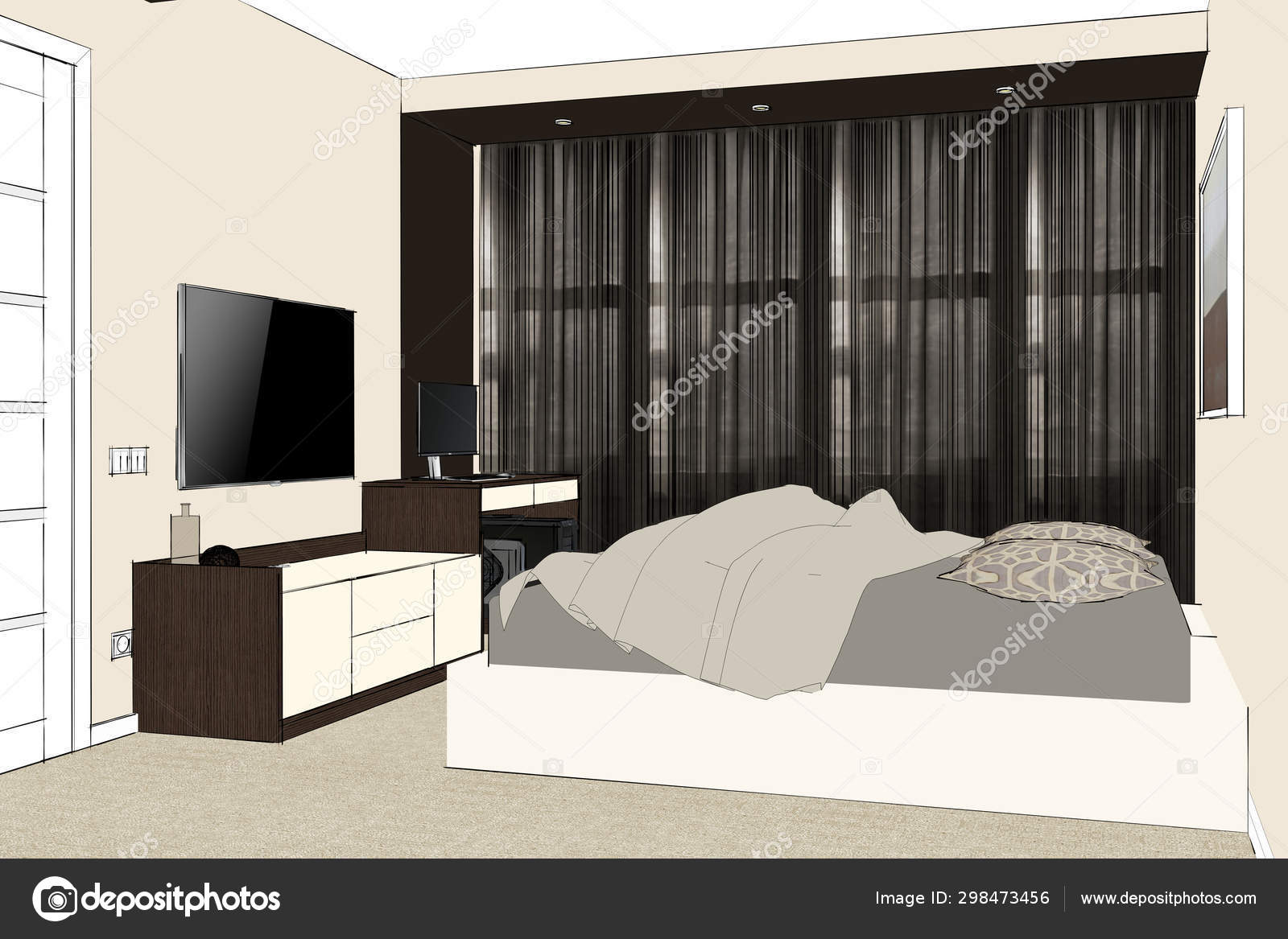 https depositphotos com 298473456 stock photo rendering elegant bedroom contemporary style html