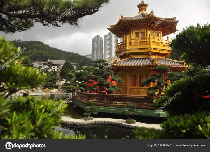 beautiful oriental garden city view golden oriental tower