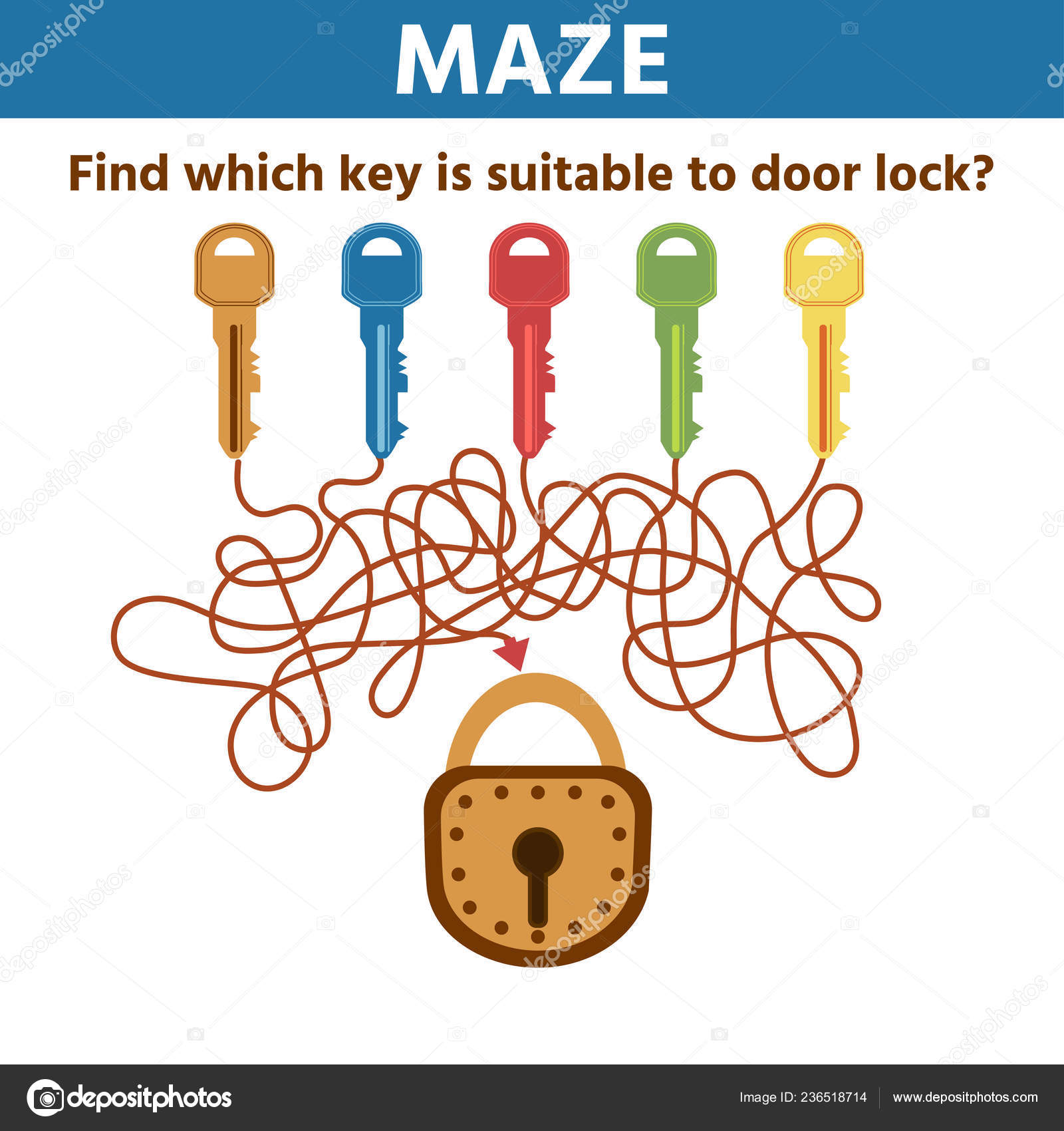 Choose Key Door Maze Game Kids Development Logical
