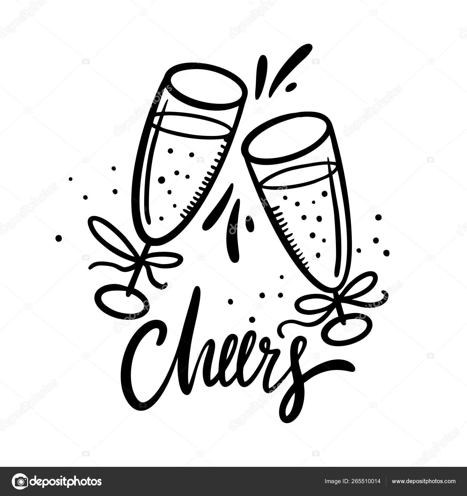 Cheers Lettering With Hand Drawn Wine Glasses Cartoon