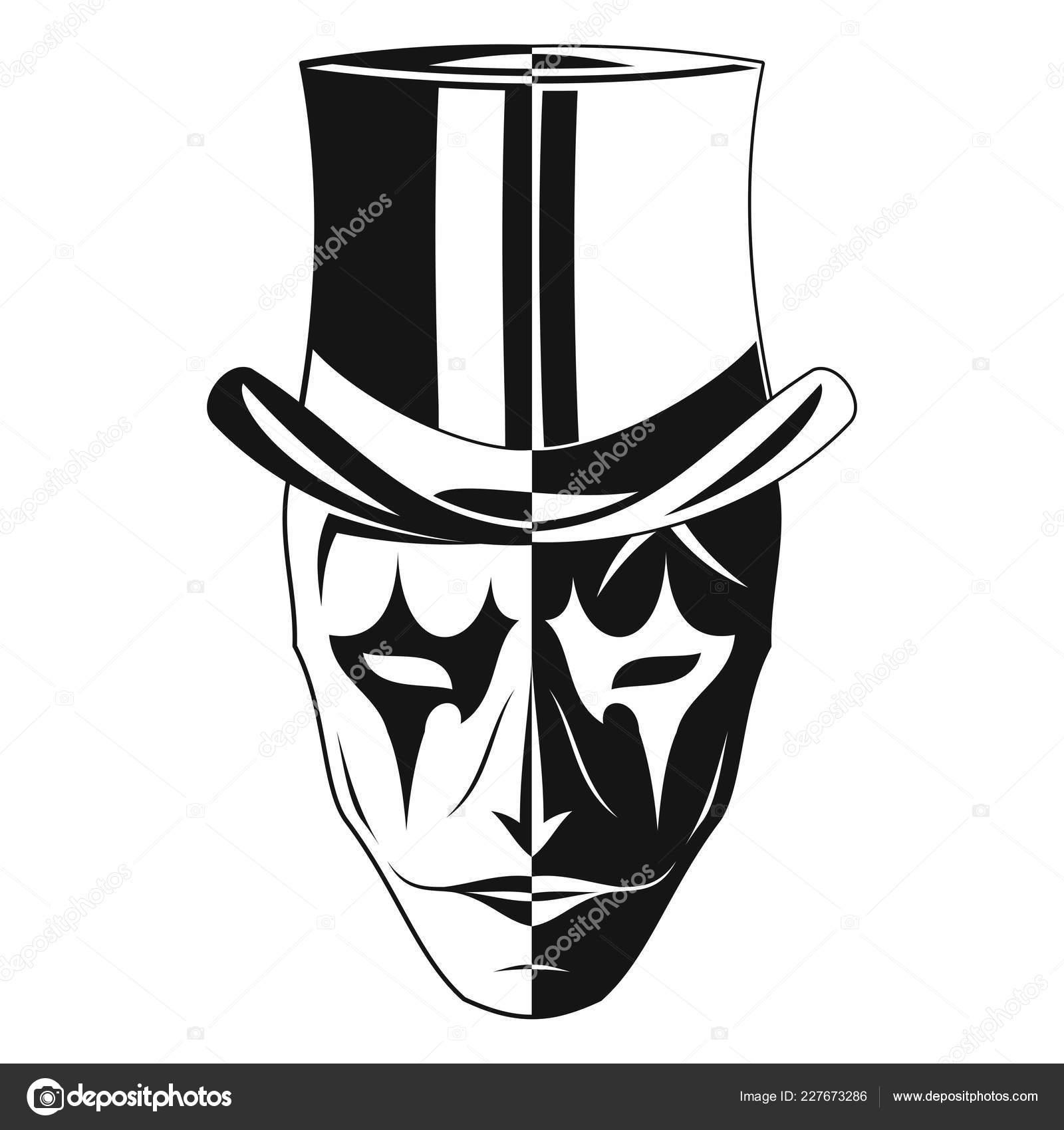 Vector Imagen Una Mascara Joker Cilindro Dos Partes Blanco