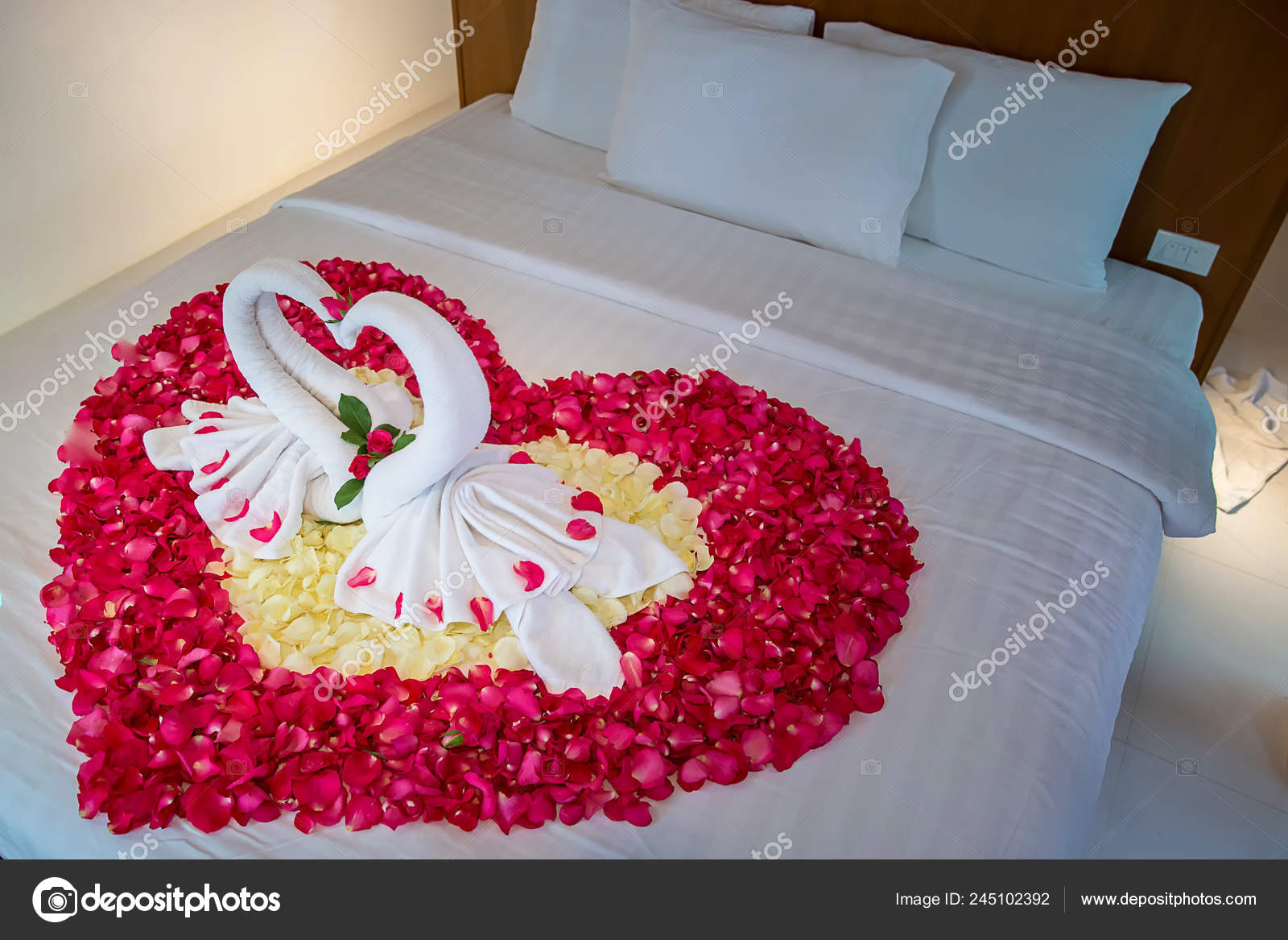 two swans made towels kissing honeymoon white bed creamy pillow stock photo c kckate16 gmail com 245102392