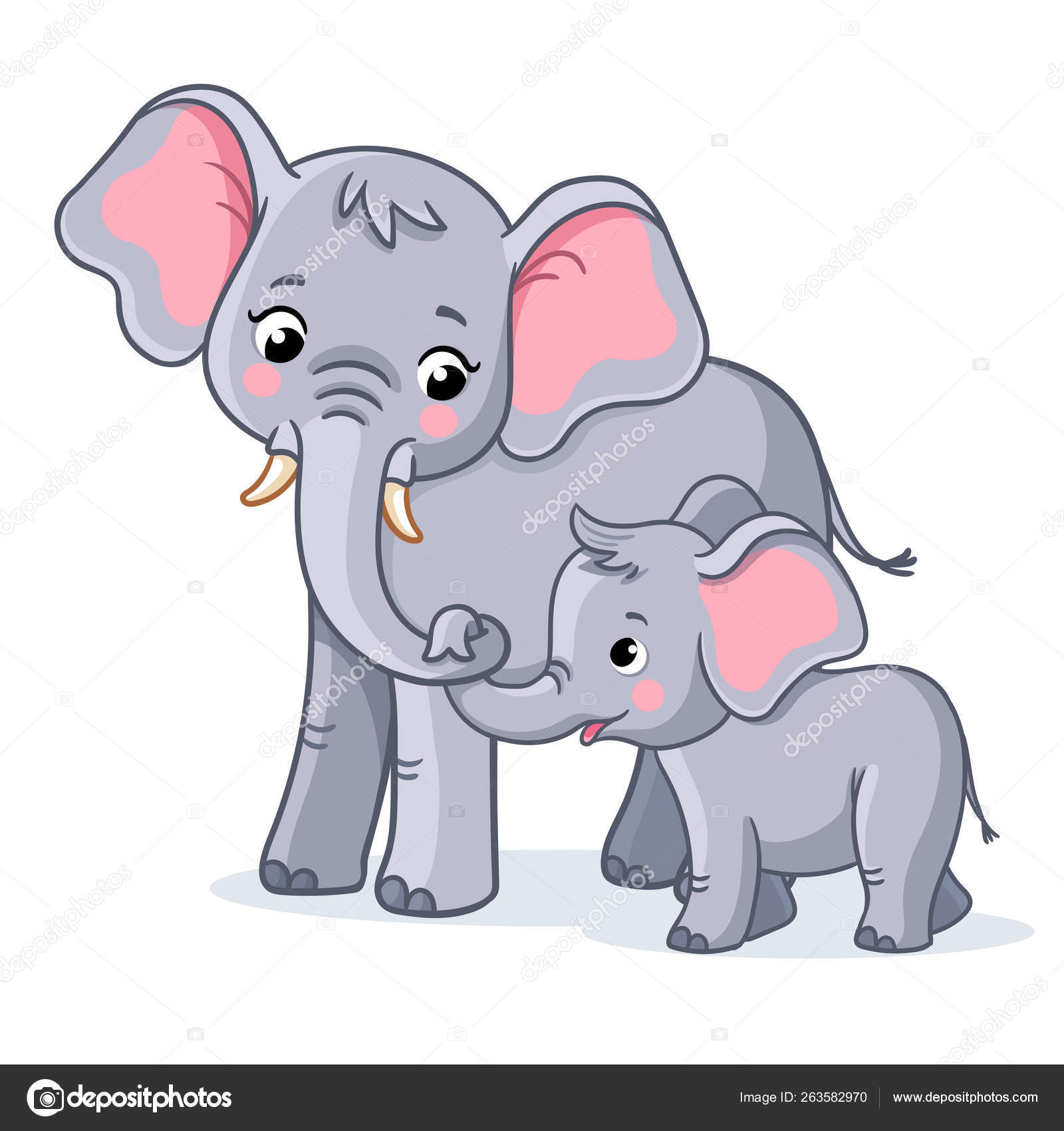 Family Elephants White Background Cute African Animals