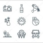 Hippies Line Icons Linear Set Quality Vector Line Set Such As Sneaker Ice Cream Necklace Camper Van Camping Tent Stop Global Dove Camera Premium Vector In Adobe Illustrator Ai Ai