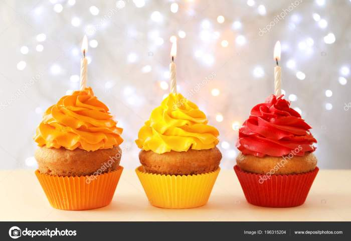Delicious Birthday Cupcakes Candles Table Blurred Background Stock
