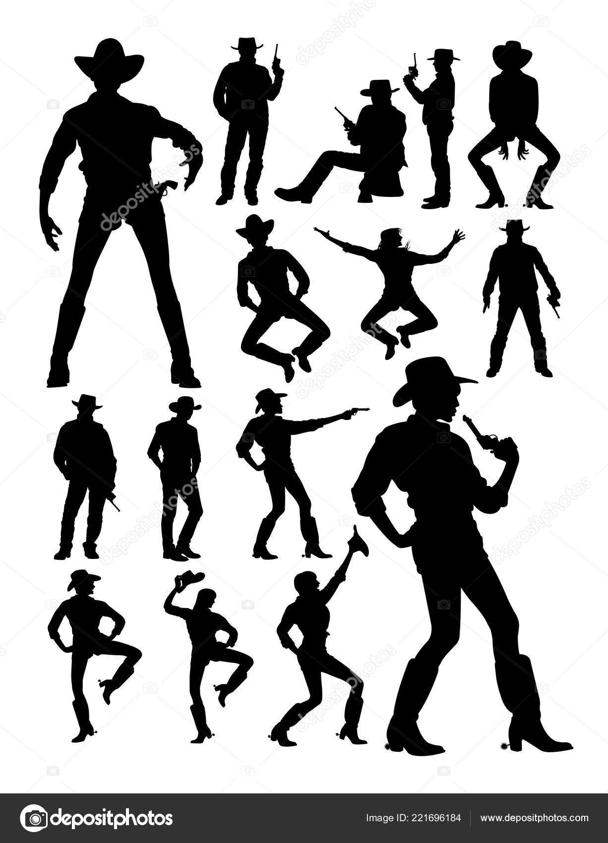 Cowboy Cowgirl Detail Silhouette Good Use Symbol Logo Web