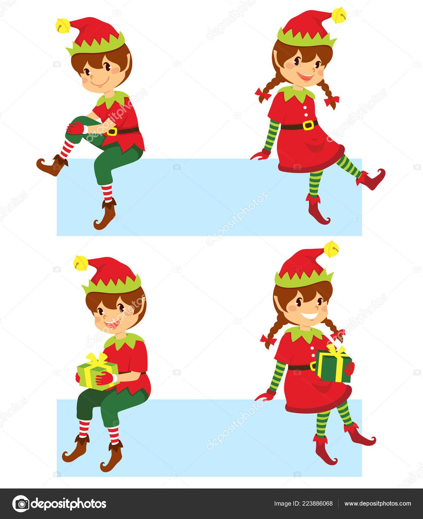 Cute Cartoon Christmas Elves Sitting Banner Different