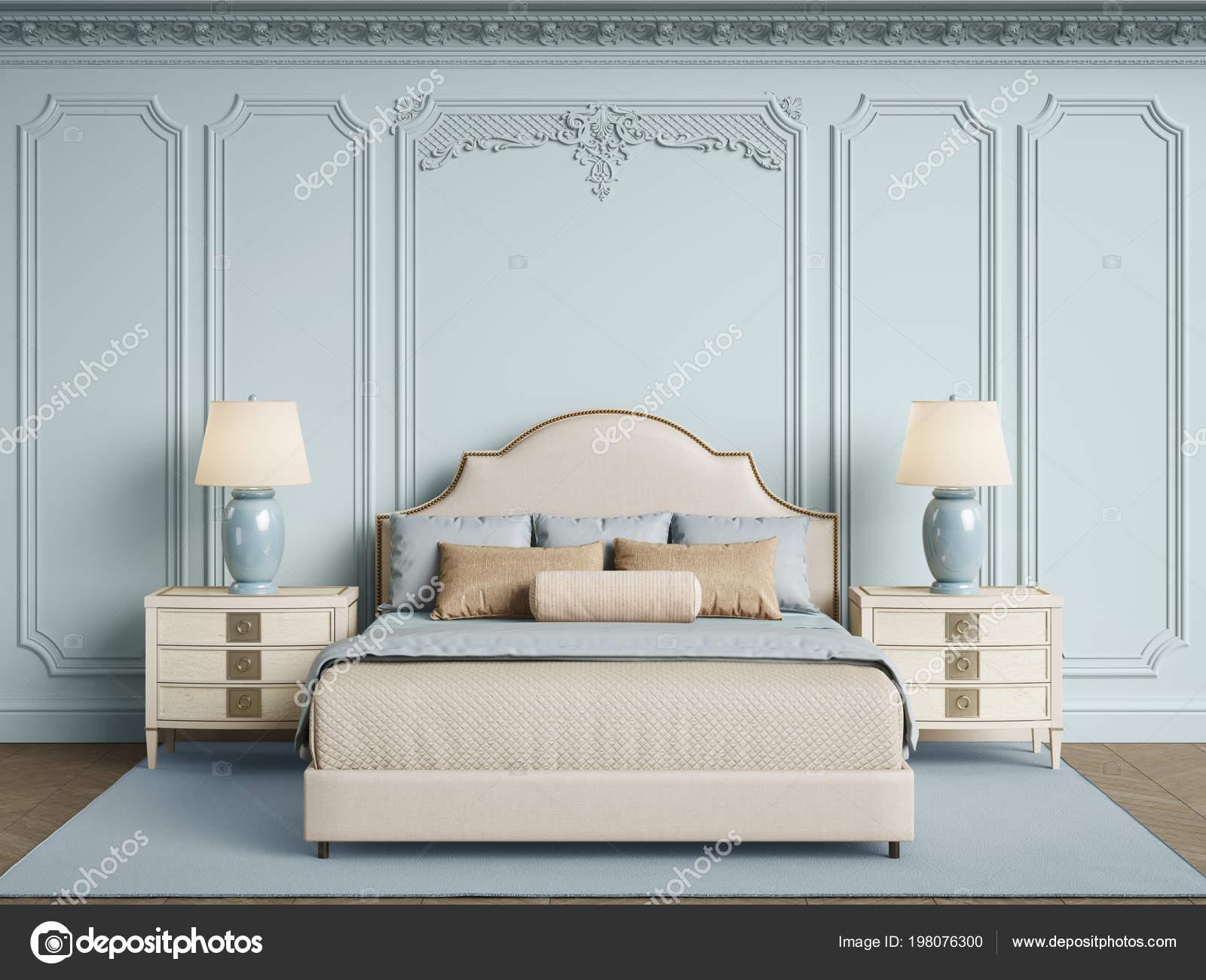 meubles chambre coucher classique interieur classique murs avec moulures corniche photo
