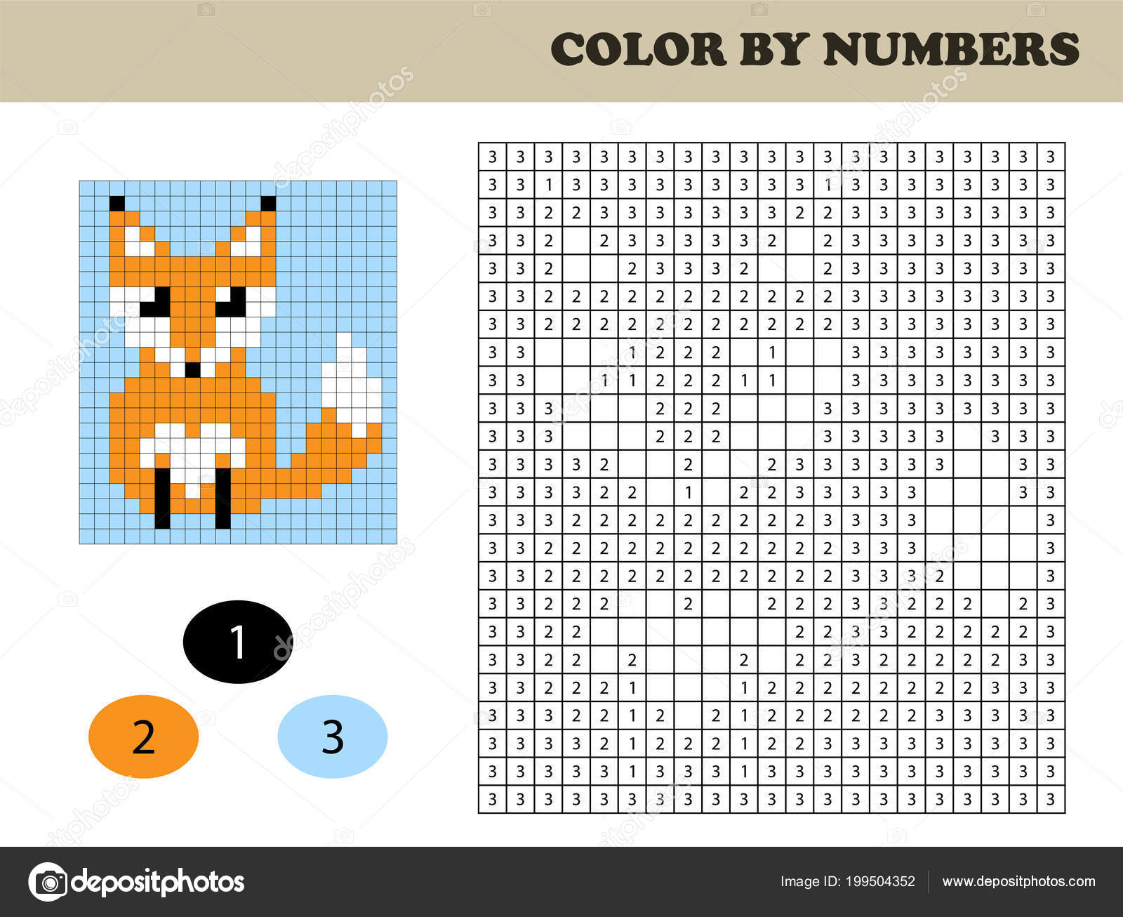 Color By Number Fox