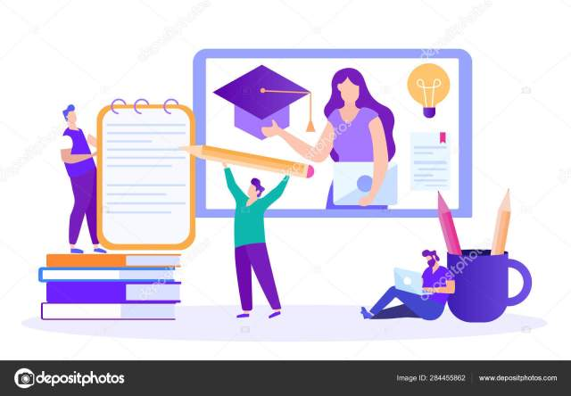 Student Writes Summary. Lecture Online. Vector. Stock Vector