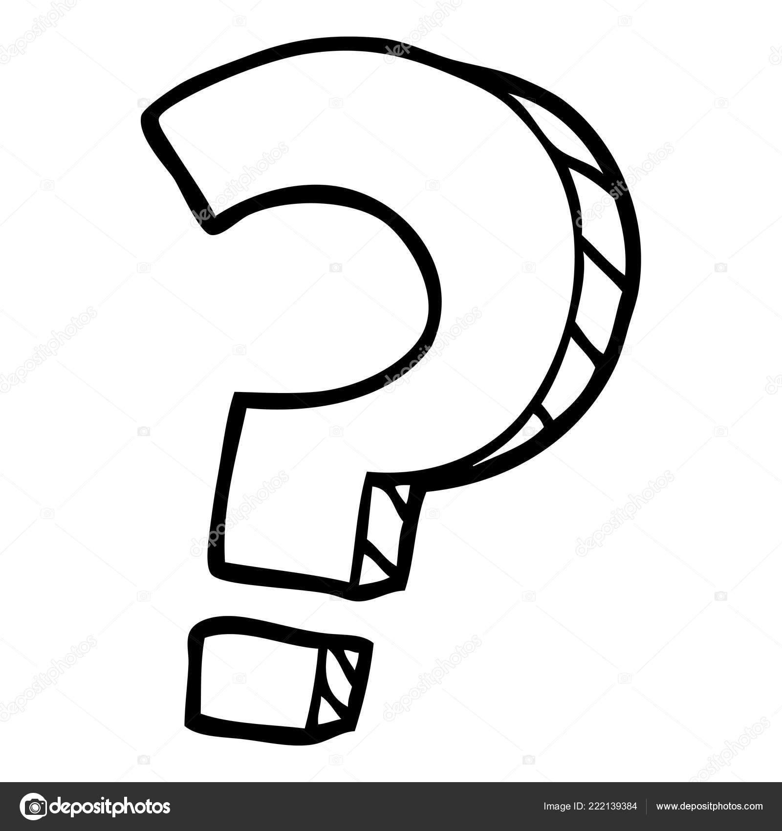 Black White Cartoon Question Mark
