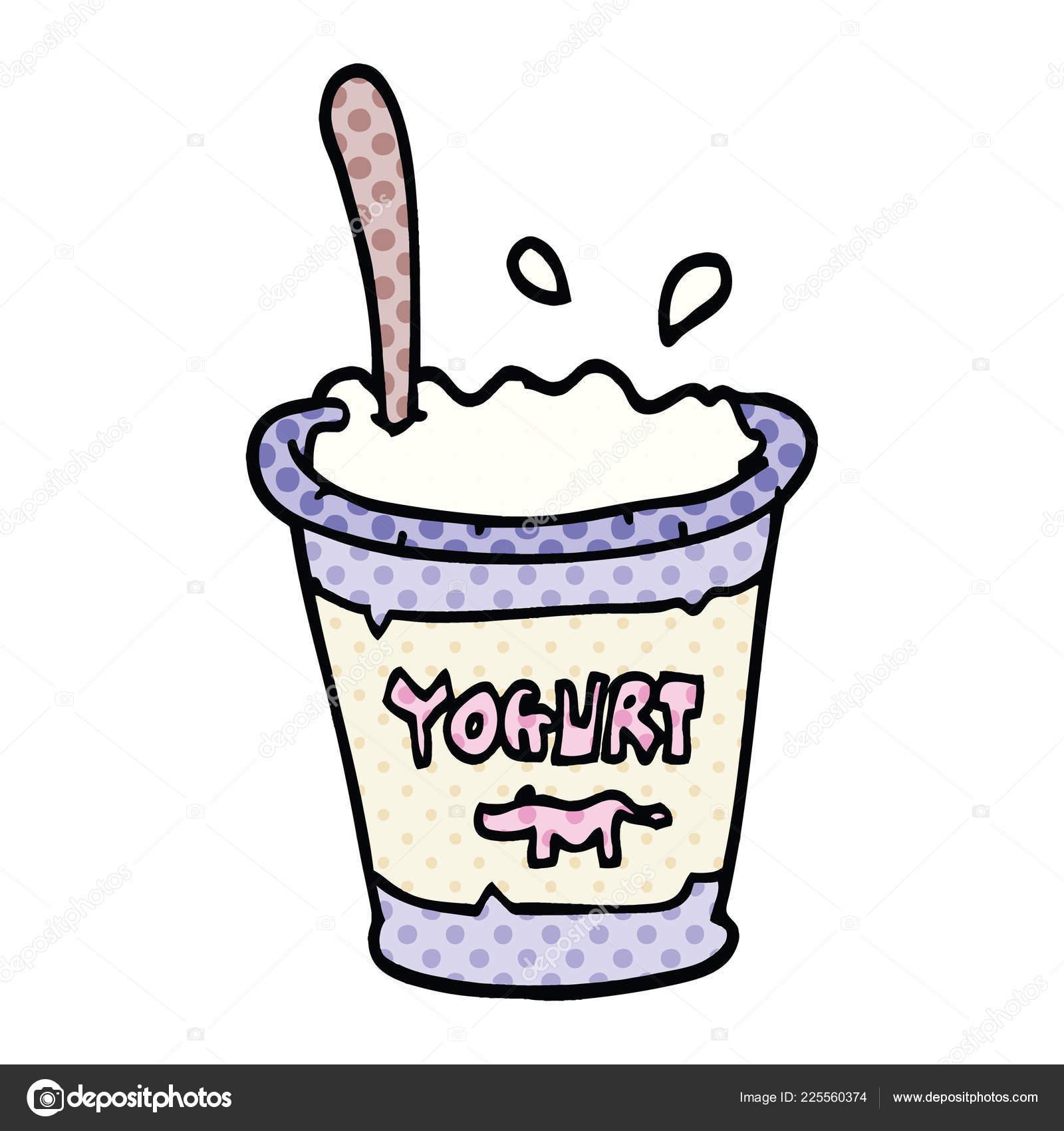 Iogurte Desenho Animado Estilo Quadrinhos