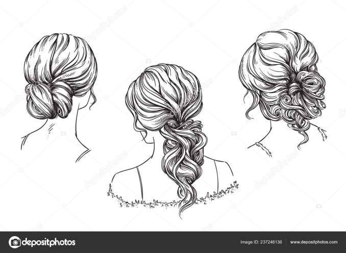 bridal hand drawn hairstyles vector illustration