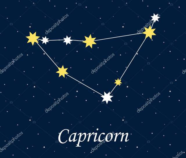 Constellation Capricorn Zodiac Horoscope Astrology Stars Night Illustration Vector Stock Vector