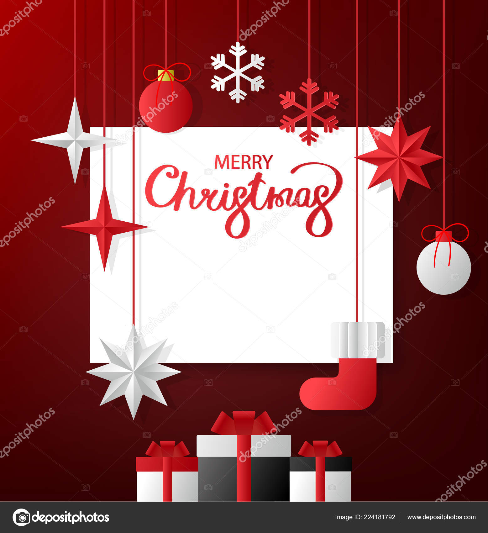 Merry Christmas Greeting Card With Paper Christmas