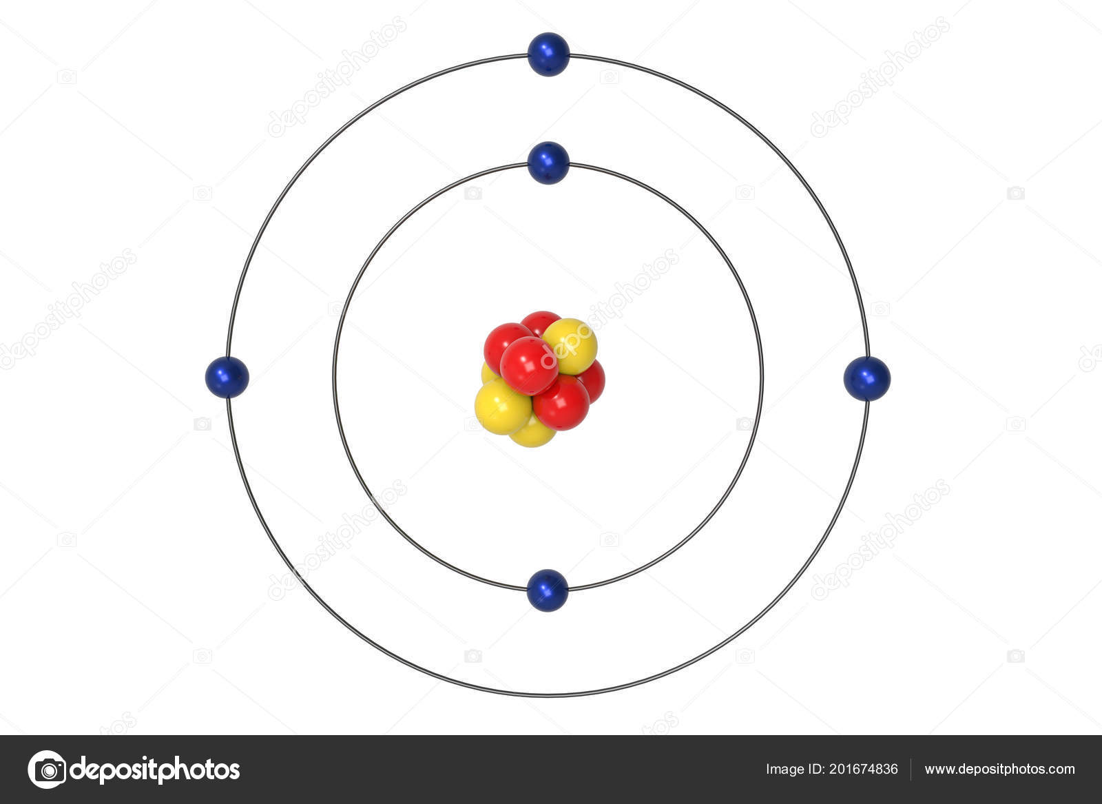 Boron Atom Bohr Model Proton Neutron Electron Illustration