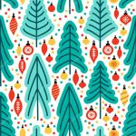 Cute Scandinavian Christmas Tree Market Seamless Pattern Background With Hand Drawn Fir Trees And Christmas Balls For Your Decoration Premium Vector In Adobe Illustrator Ai Ai Format Encapsulated Postscript