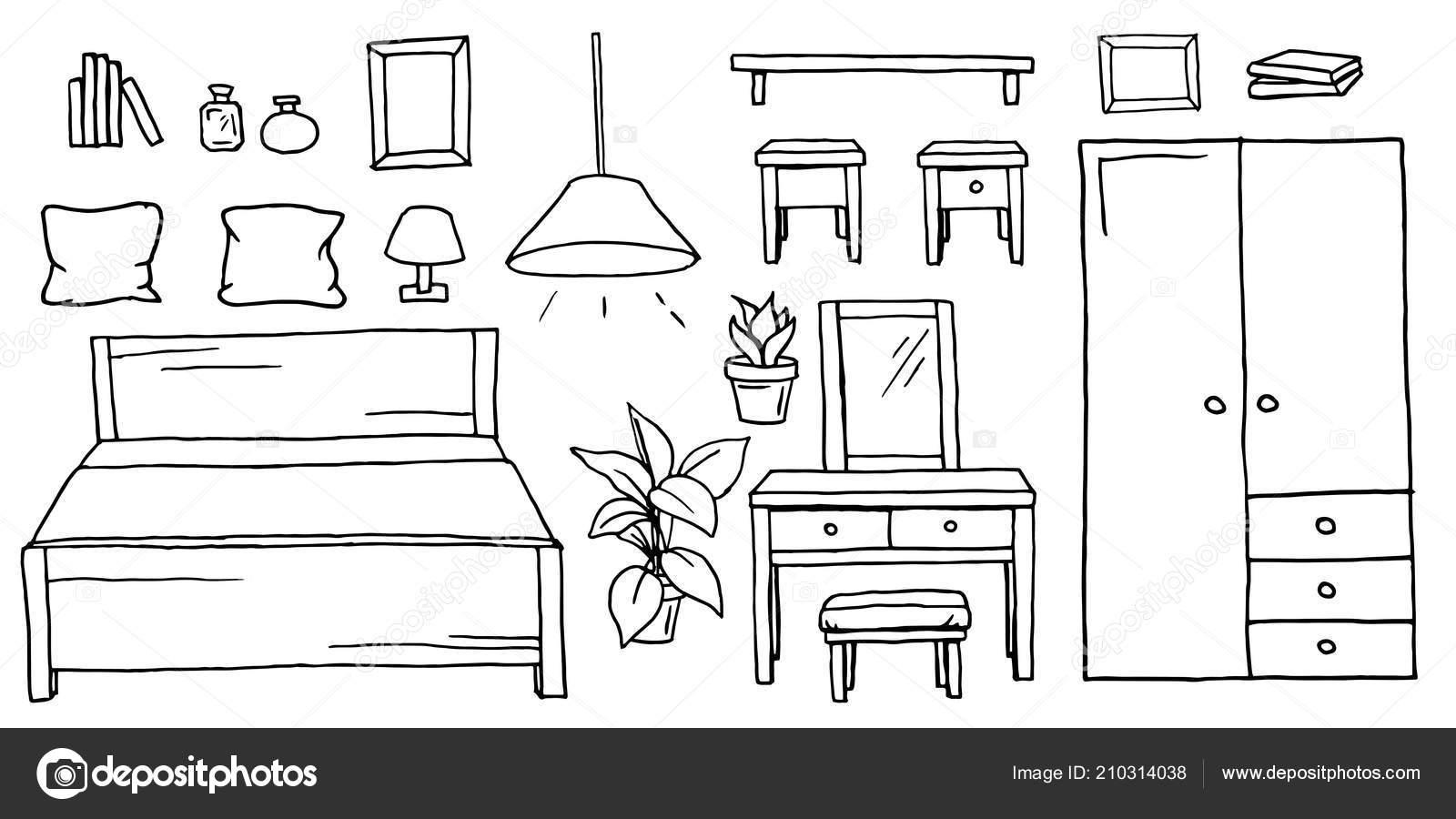 Passa O Jogo Da Mobilia Do Quarto Desenhado Desenho Preto