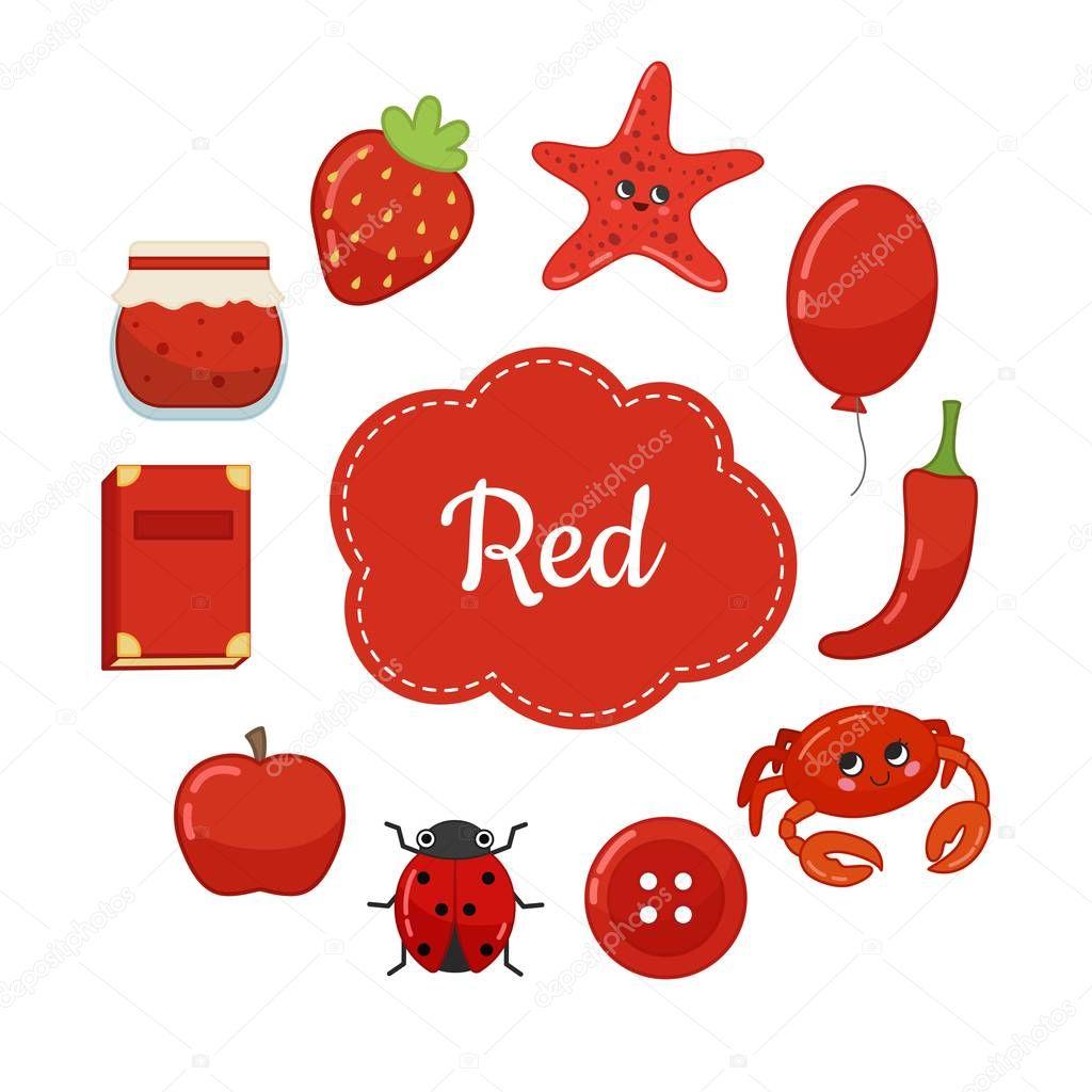 Aprender Los Colores Primarios Rojo Diferentes Objetos