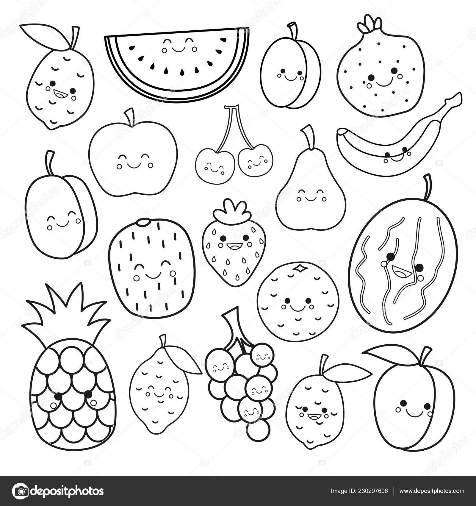 Vetor Definido Frutas Bonitos Livro Colorir Para Criancas