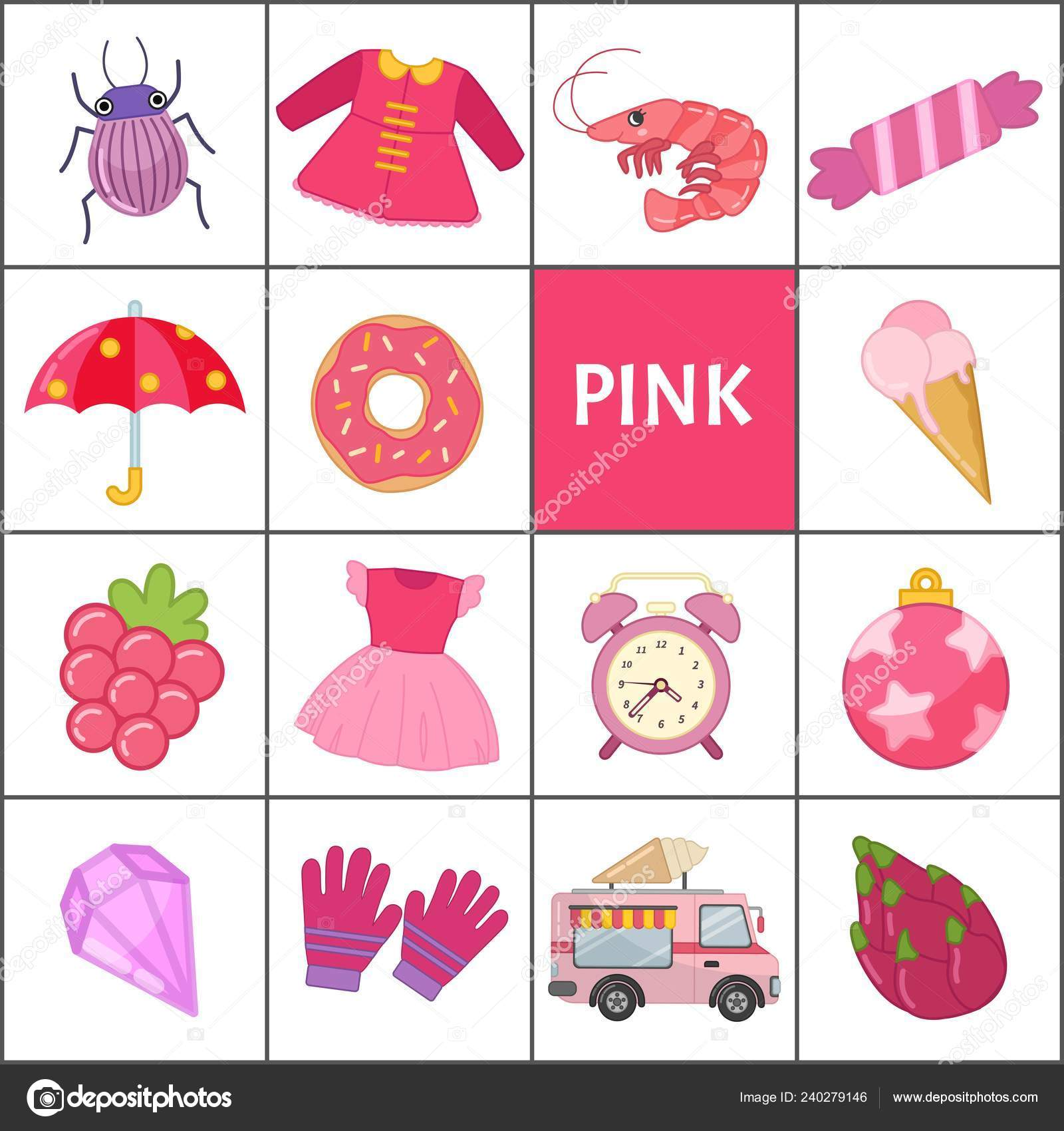 Learn Primary Colors Pink Different Objects Pink Color