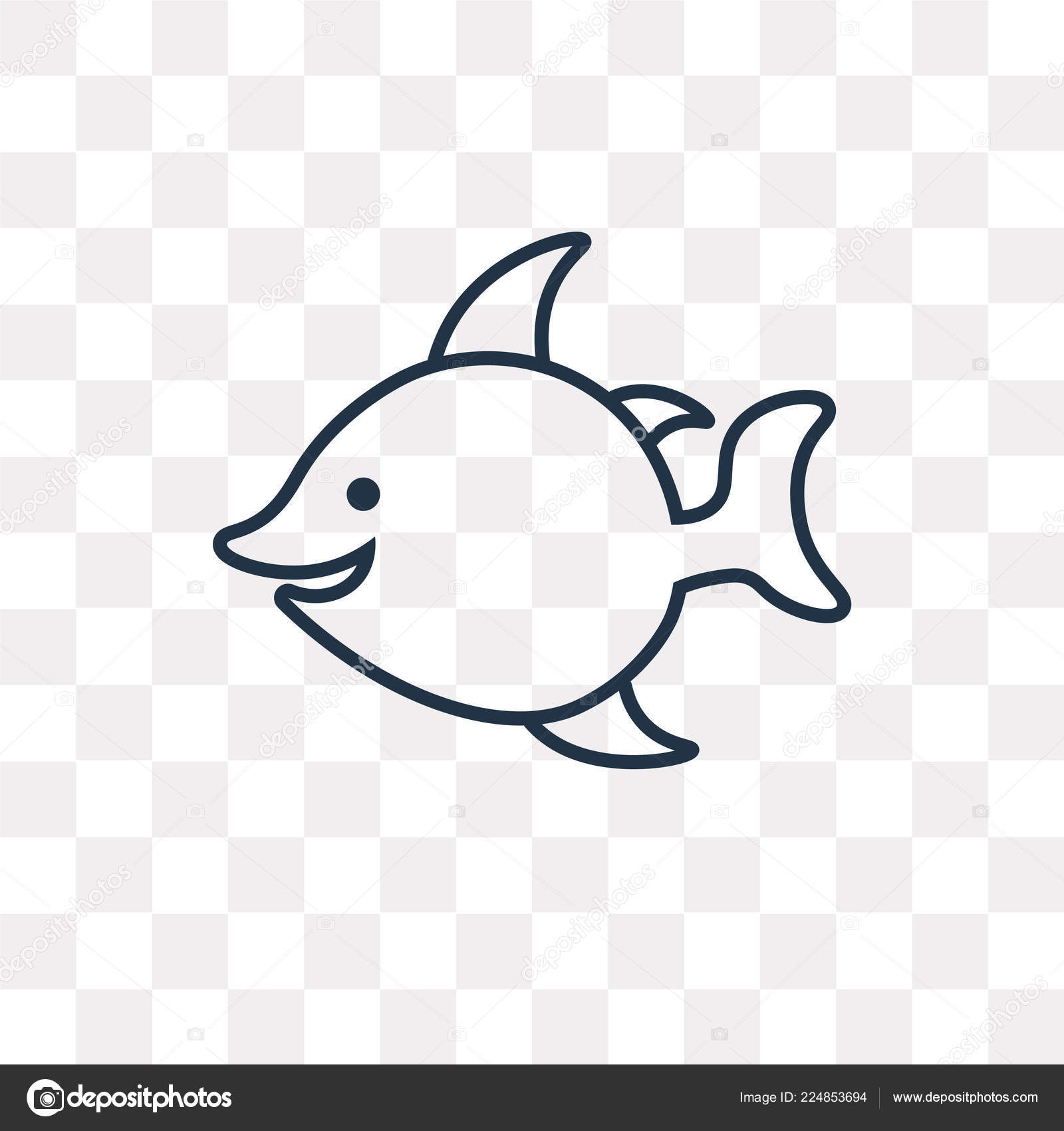 Fish Vector Outline Icon Isolated Transparent Background