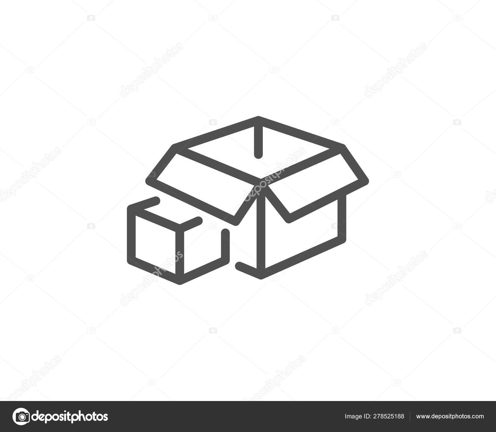 Box Line Icon Delivery Parcel Sign Packing Boxes Vector