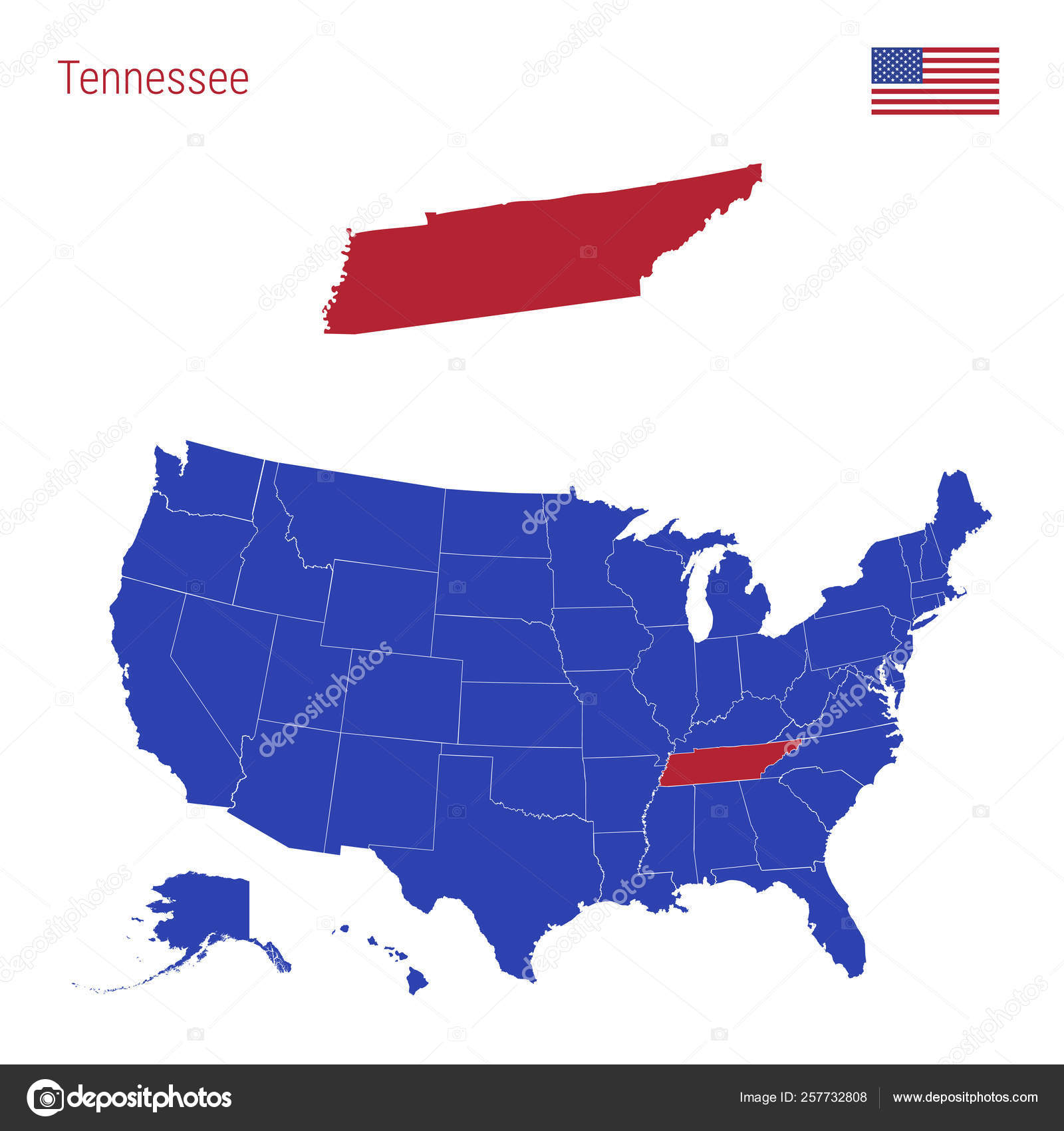 Covering an area of 109,247 sq. The State Of Tennessee Is Highlighted In Red Vector Map Of The United States Divided Into Separate States Stock Vector Image By C Ivanburchak 257732808