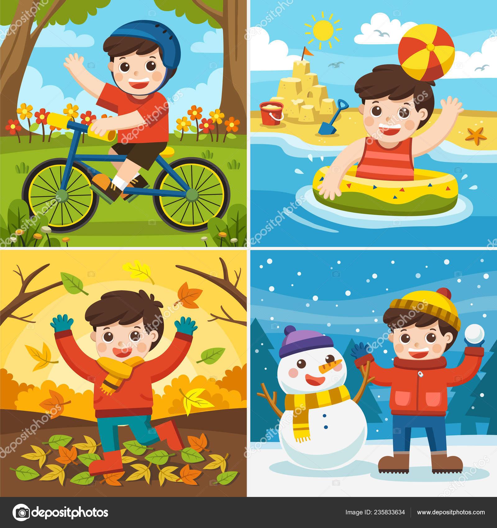 Illustration Four Seasons Weather Cute Boy Playing