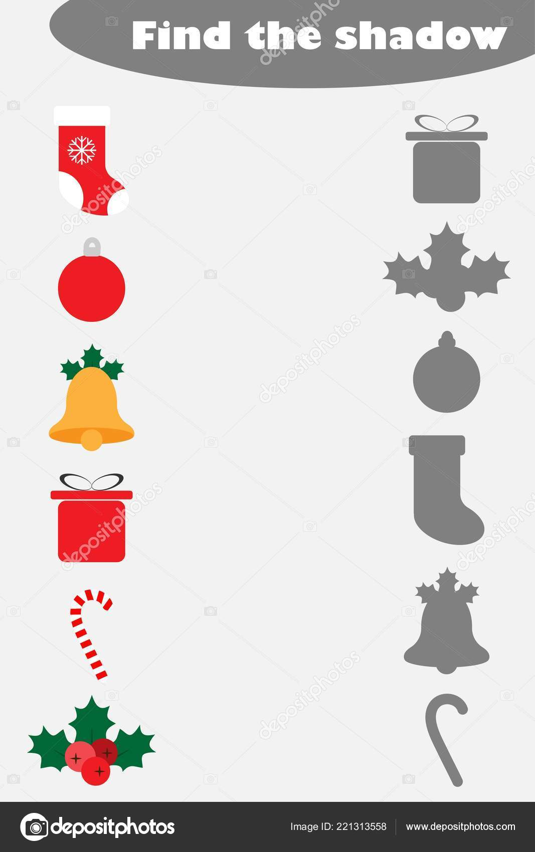 Find Shadow Game Christmas Pictures Children Education